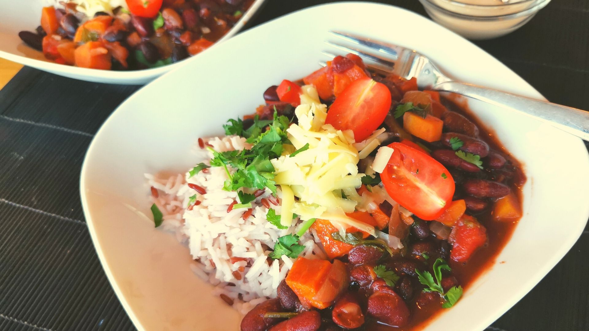 Vegetarian Chilli with Black Beans, Sweet Potato and Red Wine
