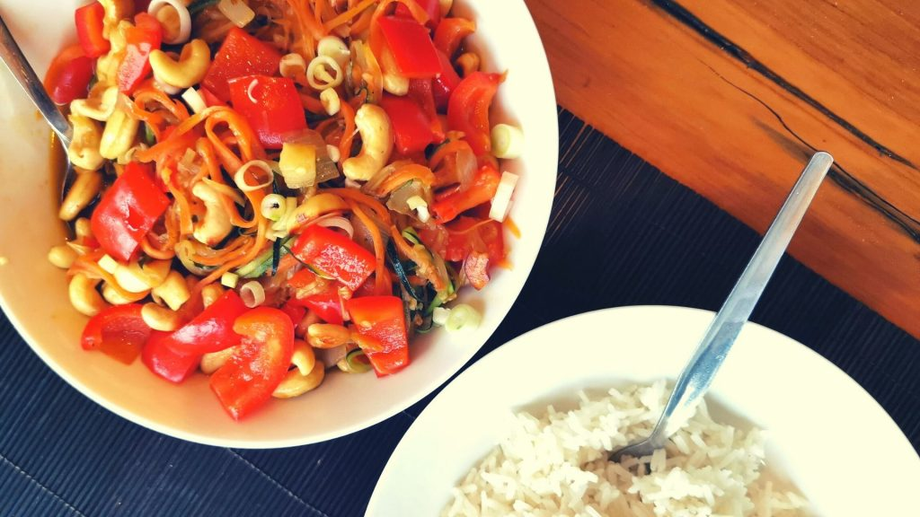 Thai Inspired Vegetable Stir Fry with Cashew Nuts